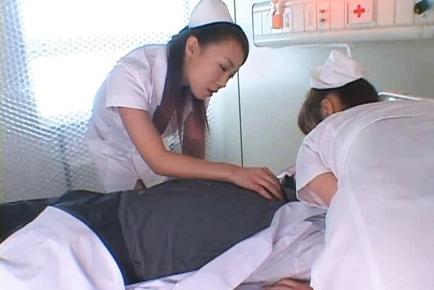 Aki Mizuhara and Misaki Asou big boobed Asian nurses are horny