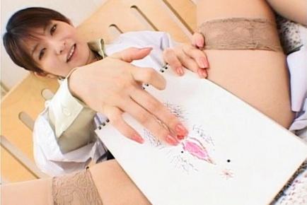 Ann Nanba Lovely Asian nurse shows off her sweet panties
