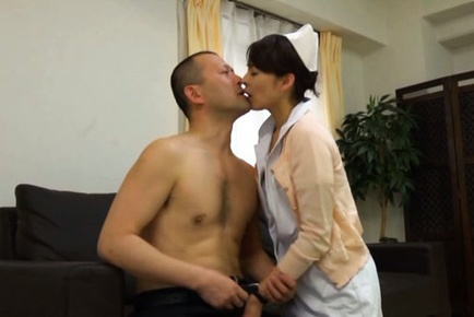 Japanese nurse Hisae Yabe gets hard fucked