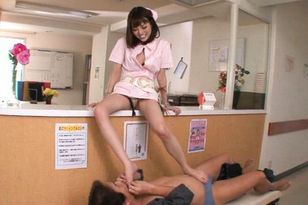 Horny Asian nurse Mao Miyabi makes amazing footjob and rides rod