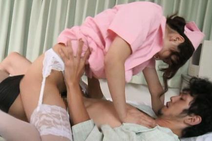 Frisky nurse Nono Mizusawa gets her trimmed pussy drilled