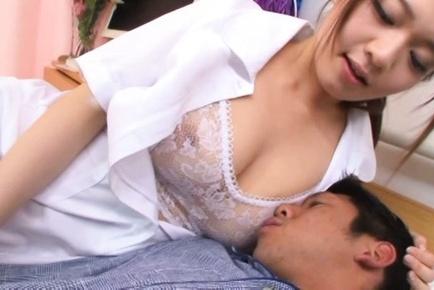 Steaming Tokyo nurse in white stockings Eri Hosaka enjoys titfuck